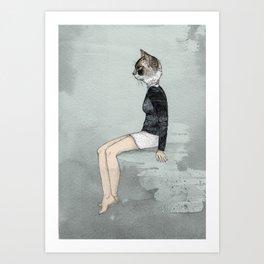 Cat Woman Art Print