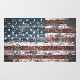 american flag on the brick Rug