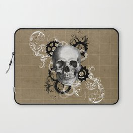 Skull With Gears and Floral Ornaments Laptop Sleeve