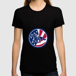 American Jockey Horse Racing USA Flag Icon T-shirt