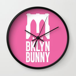 Brooklyn Bunny Logo (Pink) Wall Clock