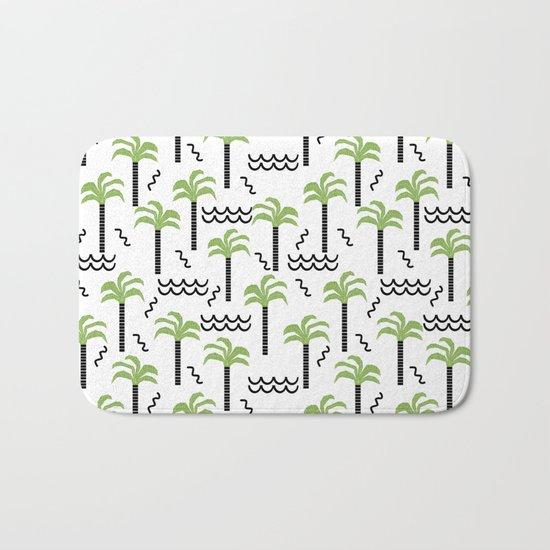 Palm trees tropical minimal ocean seaside socal beach life pattern Bath Mat