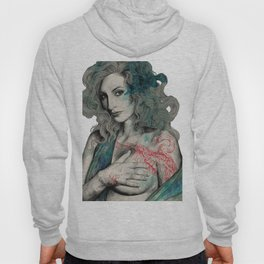 SGNL>05 (seminude street art portrait, topless lady with swan tattoo) Hoody