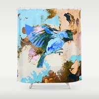 wesley bird Shower Curtains featuring Birds by Saundra Myles