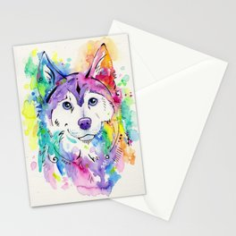 Happy - Siberian Husky Watercolor Art Stationery Cards