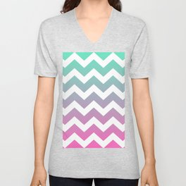 Abstract Chevron Pink To Blue Design  Unisex V-Neck