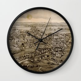 Vintage Pictorial Map of Kennebunk Maine (1895) Wall Clock