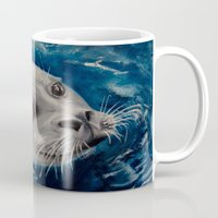 seal Mugs featuring Seal by Andrea Vreken Art