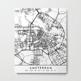 AMSTERDAM NETHERLANDS BLACK CITY STREET MAP ART Metal Print