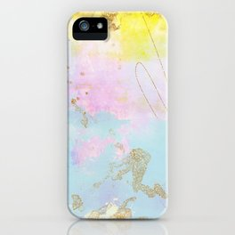 Light Blue, Pink,Yellow and Gold Brush Stroke Abstract iPhone Case