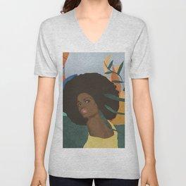 Afro lady #art print#society6 Unisex V-Neck