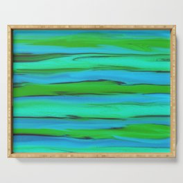 Apple Green, Seafoam, and Azure Blue Stripes Abstract Serving Tray