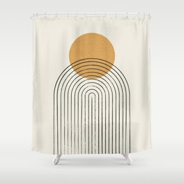 Gold Sun rainbow mountain Shower Curtain