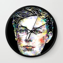 ARTHUR RIMBAUD watercolor and ink portrait Wall Clock
