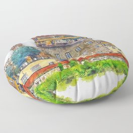 Aquarelle sketch art. View of the historic buildings in Florence. Reflection in the river Floor Pillow