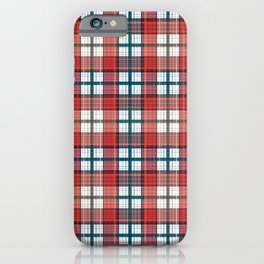 Colorful red grey plaid . iPhone Case