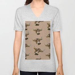 brown western country cowboy rodeo bull Unisex V-Neck