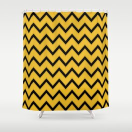 Potterverse Chevrons - Hufflepuff Shower Curtain