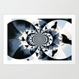 Silhouette Butterflies  Art Print