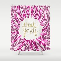treat yo self Shower Curtains featuring Treat Yo Self – Pink & Gold by Cat Coquillette