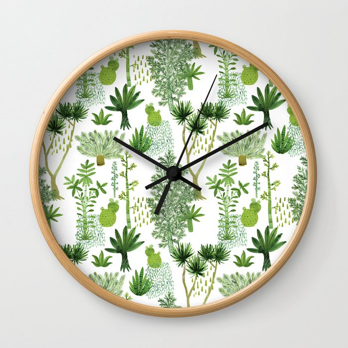 Green jungle pattern Wall Clock