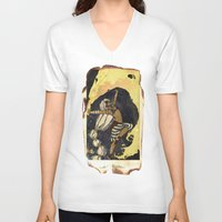 tarot V-neck T-shirts featuring moon tarot by jessica krcmarik