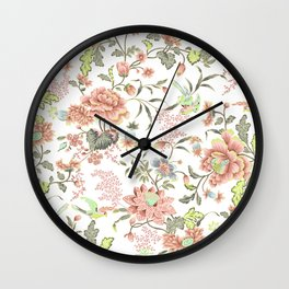 dainty cottagecore floral packed pattern - peach/pink Wall Clock