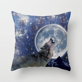A One Wolf Moon Throw Pillow