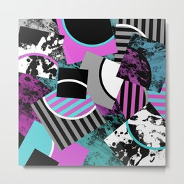 Cluttered Sqaures - Abstract, geometric, stripes, pink, cyan, blue, textured, black, white, arcs Metal Print