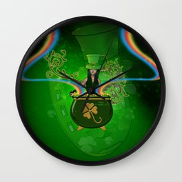 Happy St. Patricks day, cute girl with hat Wall Clock