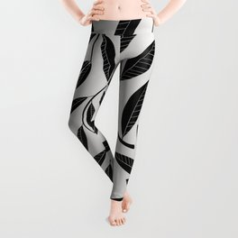 Black and White Plant Leaves Pattern Leggings