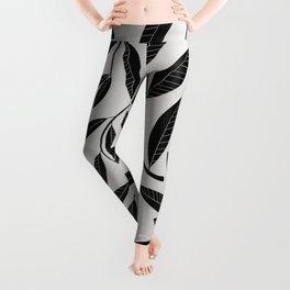 Black & White Plant Leaves Pattern Leggings