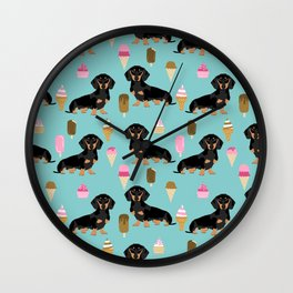 dachshund ice cream black and tan doxie dog breed cute pattern gifts Wall Clock