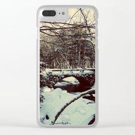 Snowy Bridge in Vaughan's Woods Clear iPhone Case