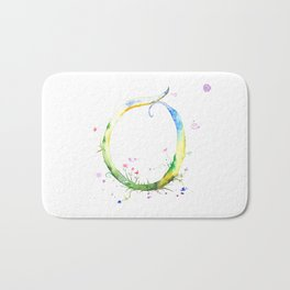 Letter O watercolor - Watercolor Monogram - Watercolor typography - Floral lettering Bath Mat