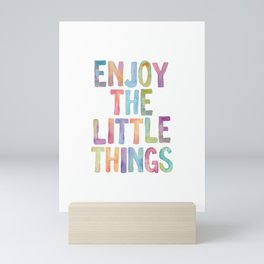 Enjoy the Little Things Watercolor Rainbow Design Inspirational Quote bedroom Wall Art Home Decor Mini Art Print