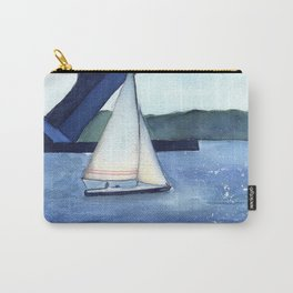 """""""Off to a journey"""" Sailboat Watercolor Painting Carry-All Pouch"""