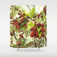 cherry Shower Curtains featuring Cherry by anif