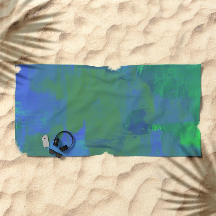 A Different View Of Earth - Abstract, textured, globe painting Beach Towel