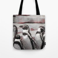 penguins Tote Bags featuring penguins by MehrFarbeimLeben