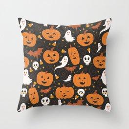 Pumpkin Party - Black Throw Pillow
