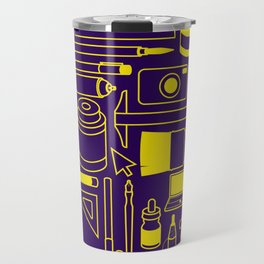 Art Supplies - Eggplant and Yellow Travel Mug