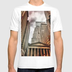 Wall Street SMALL White Mens Fitted Tee