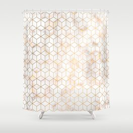 Geometric Gold Pattern on Gold Marble Shower Curtain