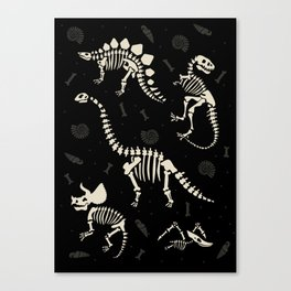 Dinosaur Fossils on Black Canvas Print