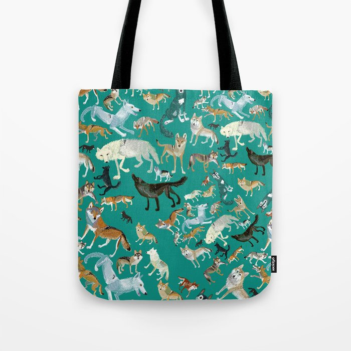 Wolves of the World Green pattern Tote Bag