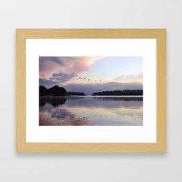 Uplifting II: Geese Rise at Dawn on Lake George Framed Art Print