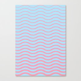 Waves Pattern, Geometric, Abstract, pink and light blue, Canvas Print