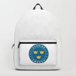 Sweden, Sverige, 3 crowns, circle Backpack