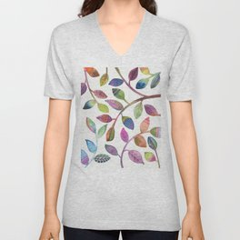 Colorful Leaves Watercolor Unisex V-Neck